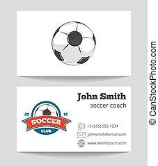 entraîneur, business, gabarit, logo, football, carte