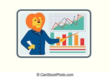 entraîneur, business, lion, vidéo, pendant, conference., homme