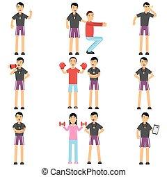 entraîneur, différent, ensemble, caractères, gens, personnel, situations., séance entraînement, tenue, instructeur aptitude, dessin animé