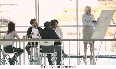 entraîneur, donner, femme affaires, whiteboard, milieu, salle réunion, vieilli, présentation