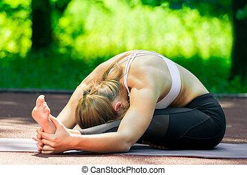 entraîneur, ensoleillé, étirage, parc, pilates, exécute, exercices, flexible, jour