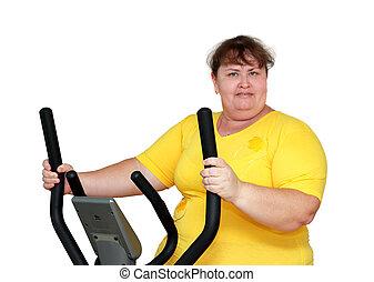 entraîneur, femme, excès poids, exercisme