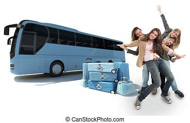 entraîneur, filles, voyager
