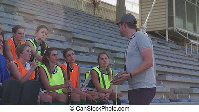 entraîneur, joueurs, femme, conversation, hockey