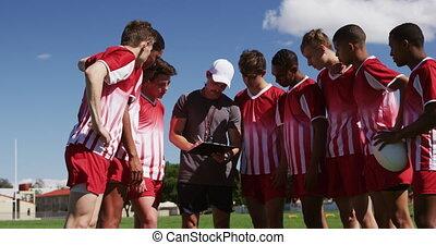 entraîneur, joueurs, rugby, conversation, champ