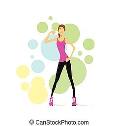 entraîneur, muscles, exposition, femme, fitness, bicep, ...