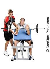entraîneur, personnel, athlète, hommes, exercisme, fond, fitness, blanc