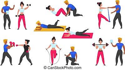 entraîneur, personnel, gymnase, fitness, vecteur, coach., cardio, sport, ensemble, dessin animé, séance entraînement, caractères, weightlifting., exercices