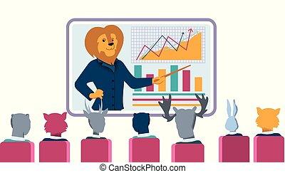 entraîneur, point, grand écran, lion, infographic, données