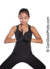 entraîneur, pose, méditer, femme, fitness
