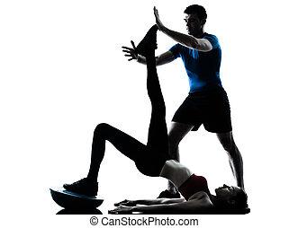entraîneur, silhouette, bosu, exercisme, femme, abdominals, homme