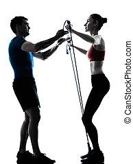 entraîneur, silhouette, exercisme, gymstick, femme, homme