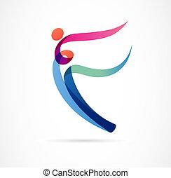 entraîneur, toile, coloré, figure, danse, résumé, sport, gymnase, courant, vecteur, fitness, humain, actif, logo, design., logo., symbole, icône