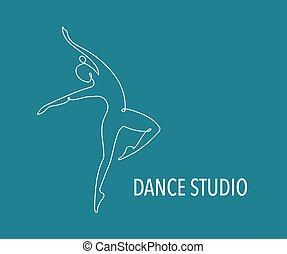 entraîneur, toile, coloré, gens, danse, résumé, gymnase, courant, vecteur, fitness, logo, design., logo., symbole, icône