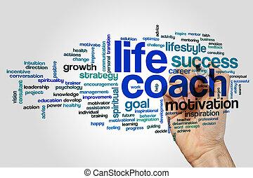 entraîneur, vie, mot, nuage