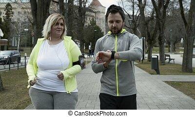 entraîneur, ville, parc, excès poids, courant, fitness, woman.