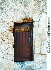 entrada, a, el, jardín, tumba, en, jerusalén