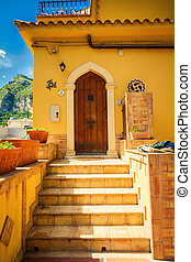 entrada, a, el, residencial, casa