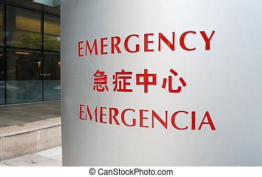 entrada, a, el, sala de emergencia