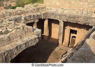 entrada, a, el, tomb., tumbas, de, el, reyes, en, paphos, cyprus.