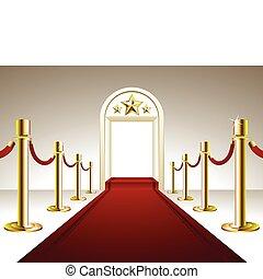 entrada, alfombra roja