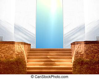 entrada, céu