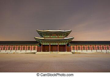 entrada, cabeza, noche, puerta, gyeongbokgung