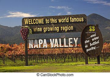 entrada, california, viñas, napa, señal