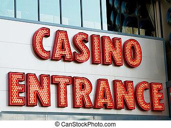 entrada, cartas, grande, casino, neón, rojo