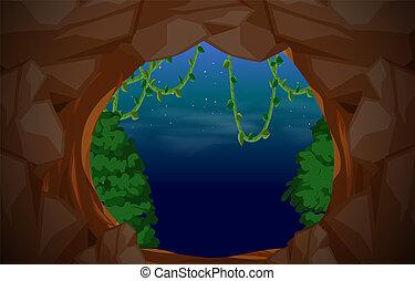 entrada, caverna, cena, fundo