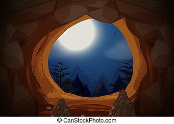 entrada, caverna, cena, noturna