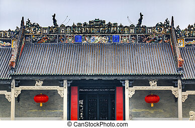 entrada, cerámico, ancestral, taoísta, dragones, figuras,...