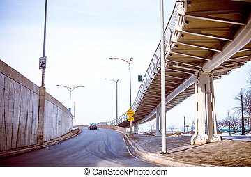 entrada, chicago, expreso, rampa, céntrico, manera