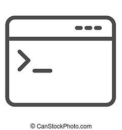 entrada, comando, design., blanco, concepto, aplicación, ventana, icon., artículo, graphics., móvil, fondo., pictogram, web browser, programa, vector, consola, contorno, señal, estilo, línea, símbolo