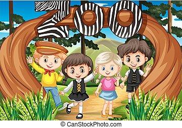 entrada, crianças, jardim zoológico