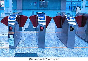 entrada, de, treine estação
