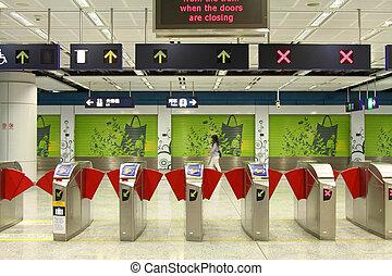 entrada, de, um, treine estação