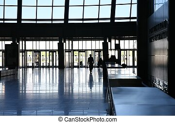 entrada, en, centro comercial