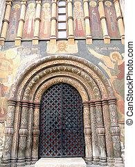 entrada, en, un, catedral