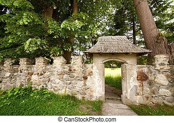 entrada, en, un, viejo, castillo, el, piedra, puerta