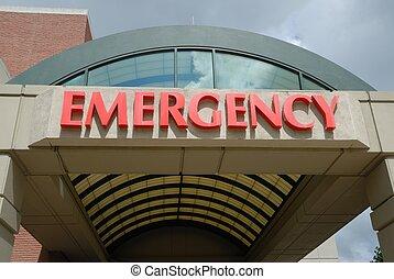 entrada, habitación, señal de emergencia