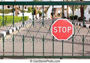 entrada, hotel, sinal parada, fechado, portão, vermelho