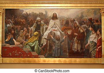 entrada, jerusalén, triunfal, jesus'