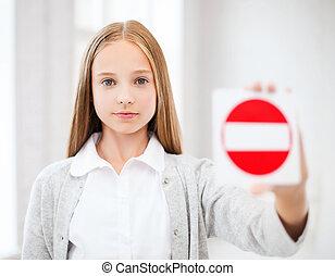 entrada, menina, não, mostrando, sinal