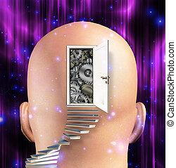 entrada, mente, engrenagens, abre