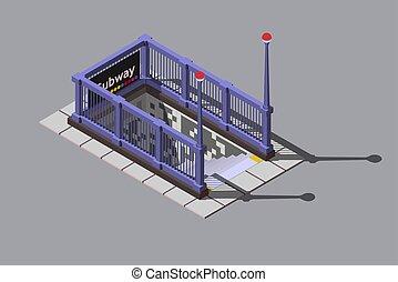 entrada, metro, isometric, ilustração, subterrâneo, vetorial, estação
