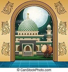 entrada, mezquita musulmana, caricatura, oro