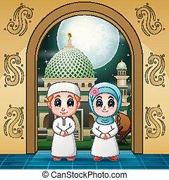 entrada, mezquita musulmana, parejas, entrar, rezando