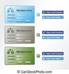 entrada, miembros, área