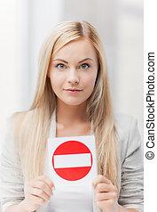 entrada, mulher, não, sinal